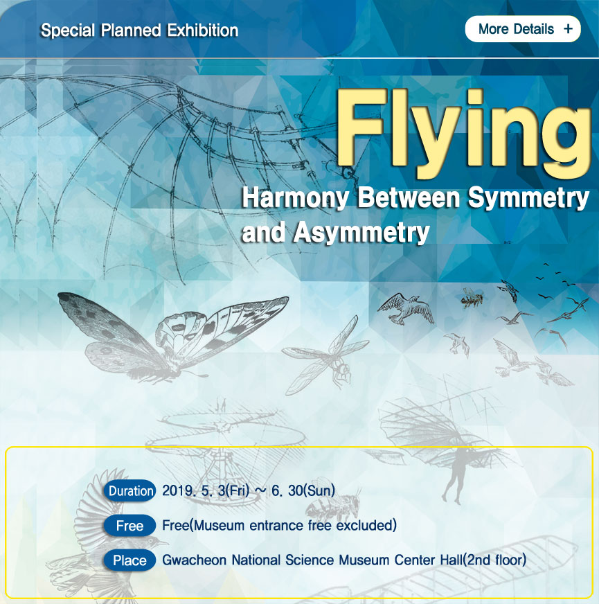 Special Planned Exhibition Flying Harmony Between symmetry and Asymmetry Duration 2019.5.3(Fri) ~ 6.30(Sun) Free Free(Museum entrance excluded Place Gwacheon National Science Museum Center Hall(2nd floor)